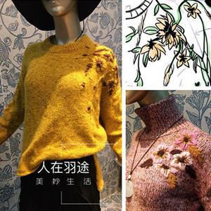 梦回&紫米粥 女士棒针彩点绣花套头毛衣