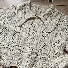 仿淘宝款女士棒针牦牛绒短款翻领套头毛衣
