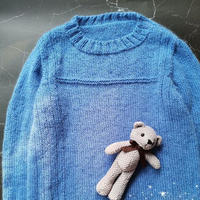 蓝色之约  云纹男童棒针套头毛衣