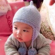 藍泡泡 萌可愛鉤針寶寶奶嘴毛球護耳帽