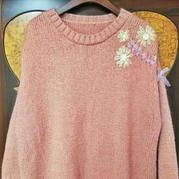 云紋女士棒針刺繡套頭毛衣