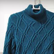 男款改版兒童棒針菱形花高領毛衣