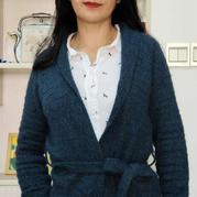 冰藍 時尚女士棒針青果領系帶開衫
