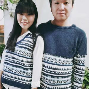 夫妻情侶檔棒針安和卡洛斯提花毛衣(V領背心+圓領插肩毛衣)
