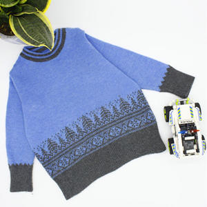 SK280机织圣诞树提花儿童羊绒套头衫