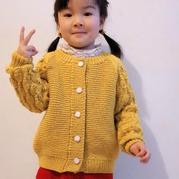 雛菊 仿樂天款兒童棒針插肩開衫毛衣