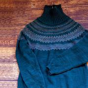 迷失 从底边往上织的男士棒针提花圆肩毛衣