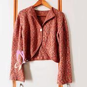 LK150機織云紋女士圓邊水袖短版開衫