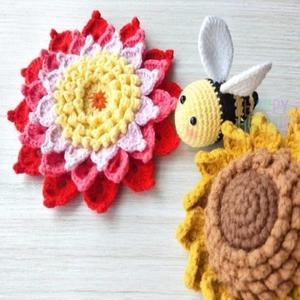 春意盎然钩针花朵和小蜜蜂编织图解