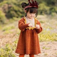 仿淘宝款女童棒针木耳边长袖连衣裙