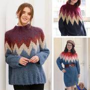 摩洛哥之爱 简约时尚女士棒针几何图案圆肩毛衣