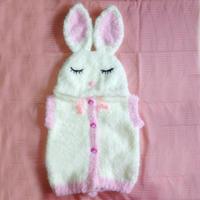 珊瑚绒编织可爱儿童棒针兔宝宝马甲