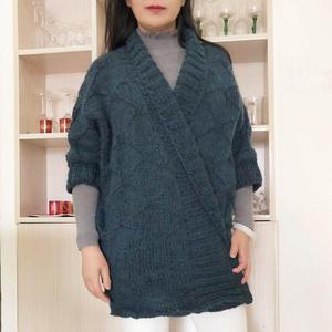雀蓝 仿欧美款女士棒针休闲宽松夹克外套开衫毛衣