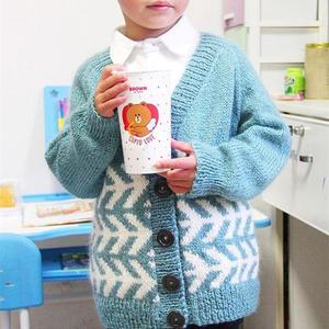 雁南飛 云紋從上往下織男童棒針羊毛馬海提花外套毛衣