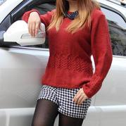 欧若拉公主 韩版绞花裙摆小香风女士棒针套头毛衣
