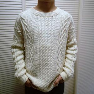 畫  男生經典棒針麻花花樣套頭毛衣