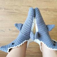 创意钩针编织成人款鲨鱼地板袜