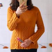 改版鳳梨 女士棒針收腰款中國結花樣套頭毛衣