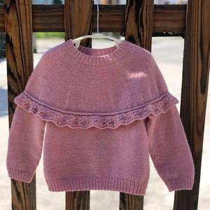 粉色荷叶边儿童棒针套头毛衣详细编织步骤图