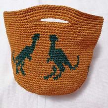 恐龙图案钩针提花水桶包包
