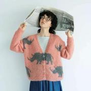云紋女士棒針犀牛圖案深V領棒針開衫