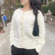 珍珠 云紋女士棒針圓領開衫