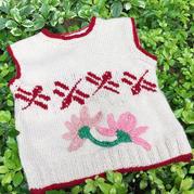 萌動 零線編織鉤花裝飾兒童棒針背心
