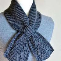 看图仿女士棒针领结式小围巾编织教程