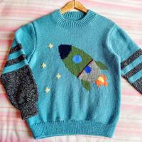 男童棒针火箭图案套头毛衣