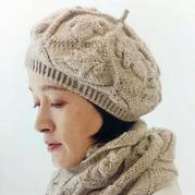 大人小孩都適合的白樺編織東倒西歪棒針葉舞貝雷帽
