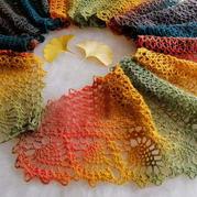 長段染毛蕾絲女士鉤針菠蘿長圍巾