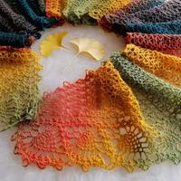 长段染毛蕾丝女士钩针菠萝长围巾
