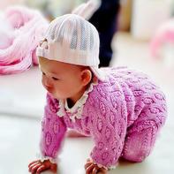 从上往下编织婴幼儿钩针连体爬服