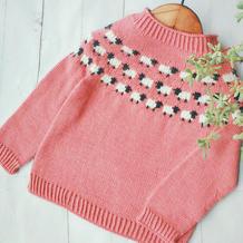小羊羔 经典羊毛从上往下织儿童棒针提花毛衣