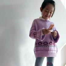 朵儿 儿童棒针微喇袖育克插肩提花毛衣