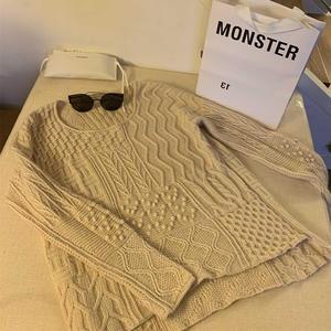 阿兰的繁华 手工编织大牌风女士棒针阿兰花样套头毛衣
