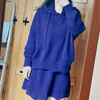 女士棒针休闲羊绒套装(连帽衫+短裙)