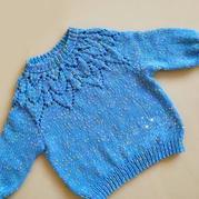 蓝乐贝 粗针织宝宝棒针育克镂空花套头毛衣一天就可完工