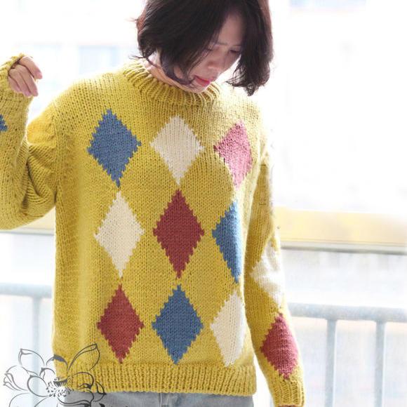 粗針織女士棒針菱格毛衣