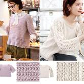 当钩织遇到直编袖织毛衣不再是难事 2款女士直编袖套头毛衣图解