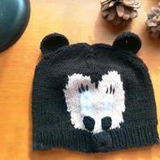 米奇小帽 儿童棒针米老鼠图案帽子