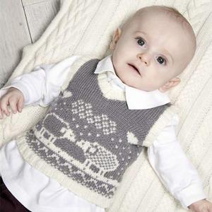 可爱棒针婴幼儿提花V领背心