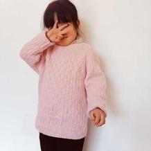 粉色回忆 亲子款儿童棒针格子花纹插肩袖套头毛衣