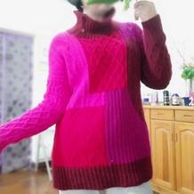 仿淘宝款女士棒针拼色系扣半高领套头毛衣