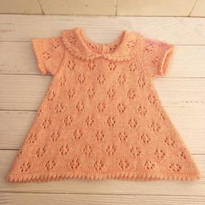 棉花糖 甜美可爱儿童棒针翻领短袖连衣裙
