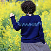 也织李子 从上往下织女士棒针V领提花毛衣