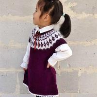 从上往下织儿童棒针提花背心裙