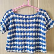 藍地白花 仿毛線球款復古風女士鉤針條紋短套衫
