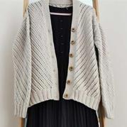 仿毛線球款女士棒針鏤空花開衫外套毛衣