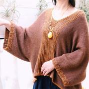 核桃酥 古韻而時尚女士棒針橫織毛衣
